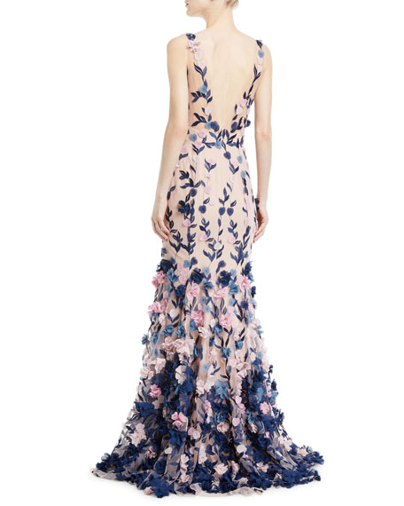 Embroidered 3D Chiffon Flower Trumpet Gown