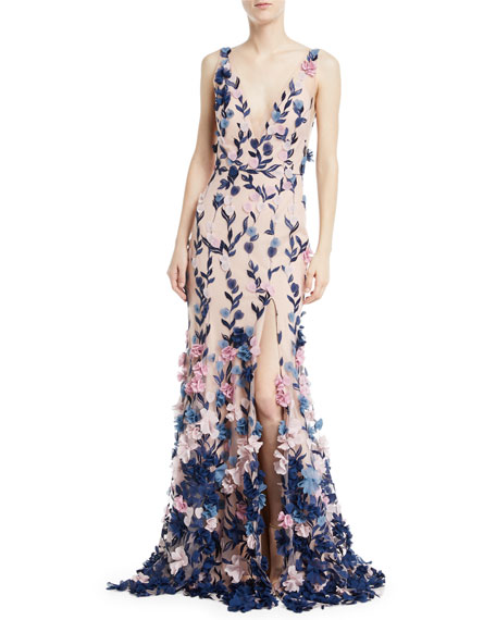 Marchesa Notte Embroidered 3D Chiffon Flower Trumpet Gown
