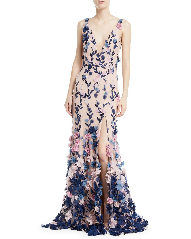 Marchesa Notte Embroidered 3D Chiffon Flower Trumpet Gown | Neiman ...