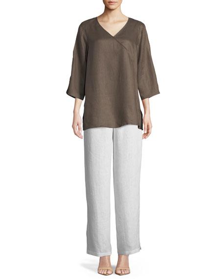 Caroline Rose Plus Size Tissue Linen V-Neck Havana Top