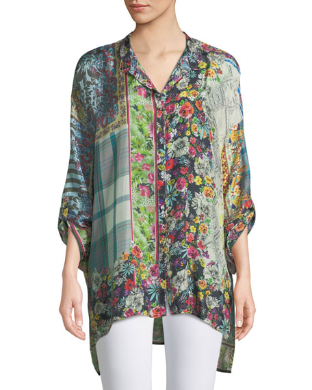 Johnny Was Invita Mixed-Print Georgette Button-Front Blouse