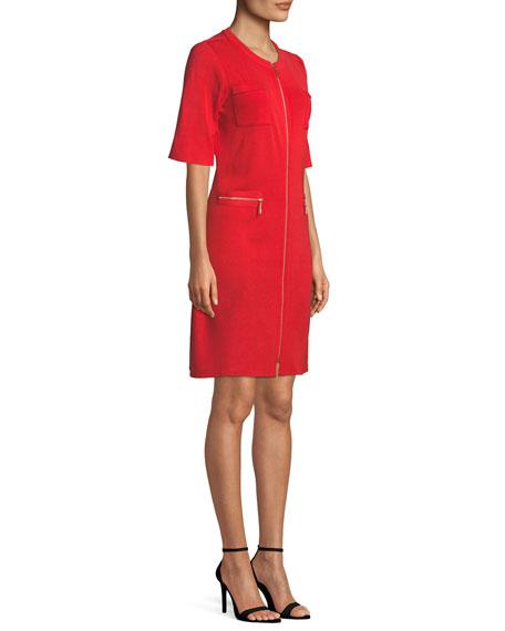 Zip-Front Short-Sleeve Shirtdress, Plus Size