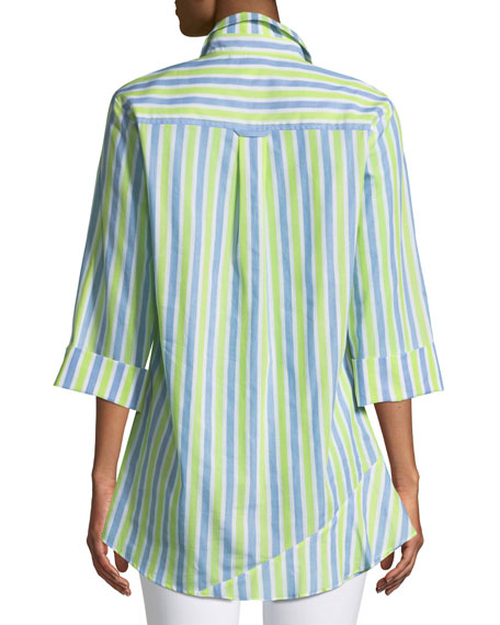 Jenna Striped Tiered-Ruffle Long Blouse
