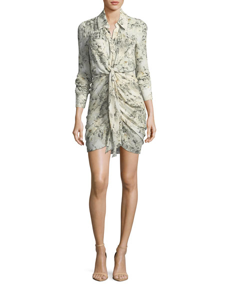 Snake In The Grass Printed Silk Long-Sleeve Dress