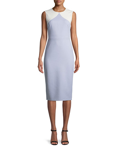Diane von Furstenberg Colorblock Sleeveless Body-Con Midi Sheath Dress