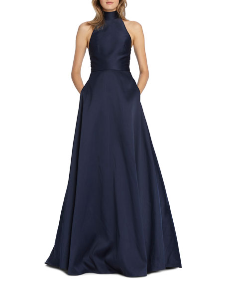 Image 1 of 2: ML Monique Lhuillier High-Neck Keyhole-Back Sleeveless Ball Gown with Pockets