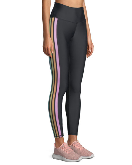 Jade High-Waist Rainbow-Stripe Leggings