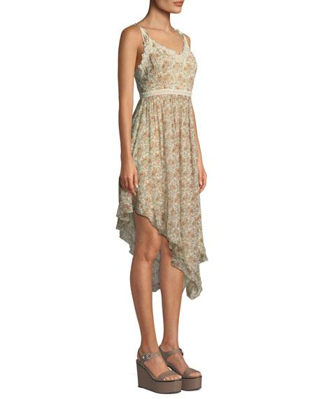 Aubrey Botanical Floral-Print Georgette Midi Dress w/ Lace
