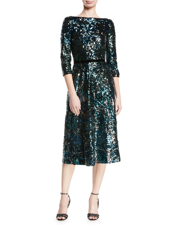 e076cb77a3 Marchesa Notte Sequin Tea-Length Cocktail Dress w/ Velvet Trim ...