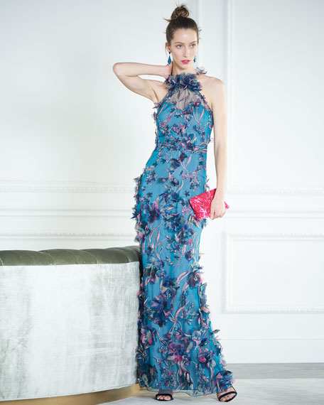 Marchesa Notte 3D Floral Halter Gown with Embroidery