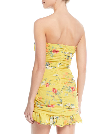 Casey Ruched Strapless Floral Mini Dress