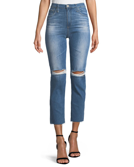 AG Adriano Goldschmied Isabelle High-Rise Straight-Leg Crop Jeans