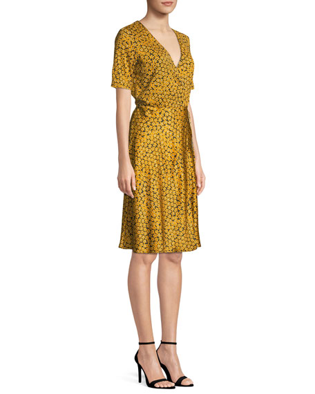 Short-Sleeve Floral-Print Flared Wrap Dress