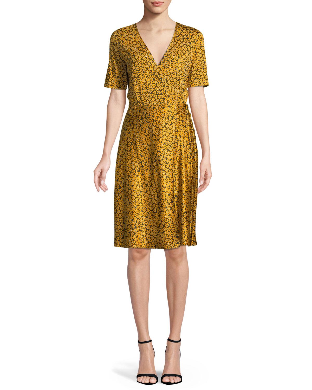 Short Sleeve Fl Print Flared Wrap Dress