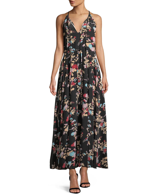 70715a41519 Diane von Furstenberg Keyhole Halter Tie-Waist Floral Maxi Dress ...