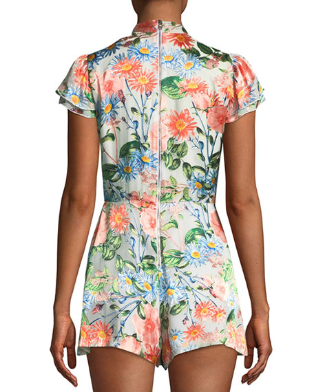 Macall Short-Sleeve Floral-Print Romper