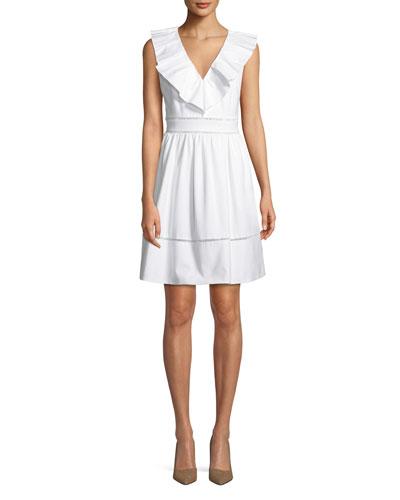 ruffle-neck sleeveless cotton dress