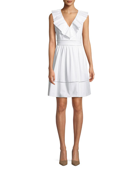 ruffle-neck sleeveless cotton dress