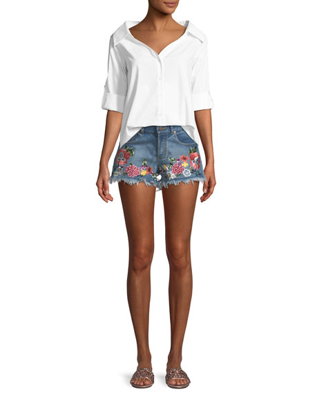 Floral-Embroidered Vintage-Inspired Denim Shorts