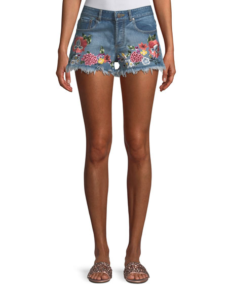 AO.LA Floral-Embroidered Vintage-Inspired Denim Shorts in Multi