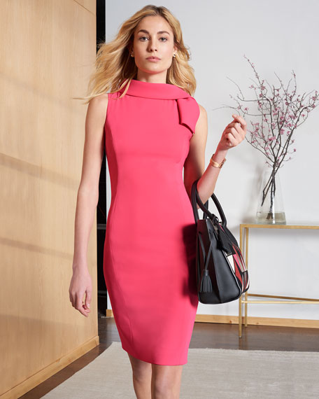 Tie-Neck Sleeveless Sheath Dress