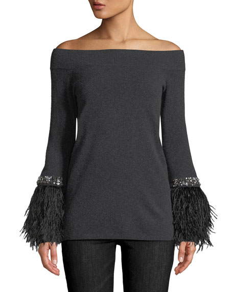Cashmere Feather-Embellished Off-the-Shoulder Sweater