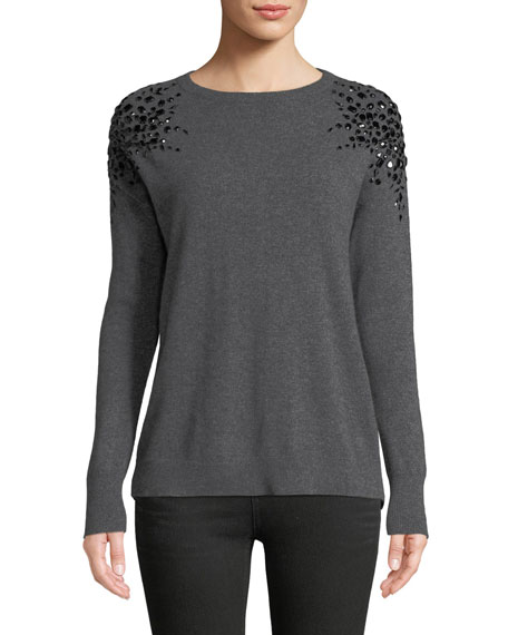 Neiman Marcus Cashmere Collection Embellished Long-Sleeve