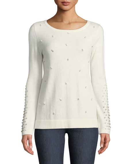 Neiman Marcus Cashmere Collection Pearl Embellished Cashmere Sweater