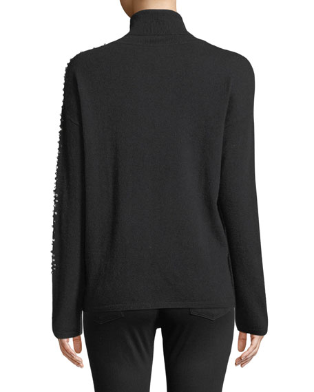 Two-Tone Embellished-Sleeve Turtleneck Sweater