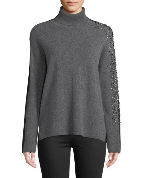 Two-Tone Embellished-Sleeve Turtleneck Sweater