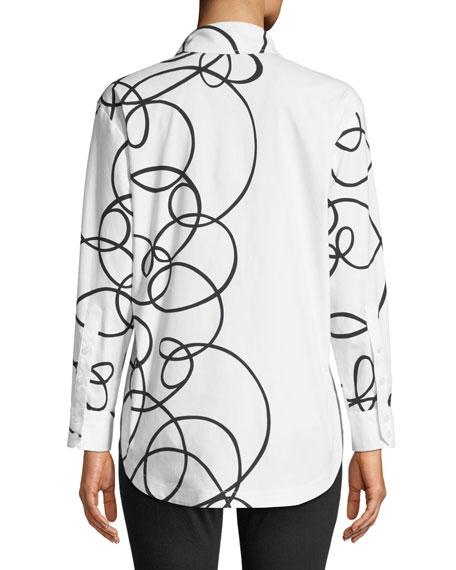 Doodle-Print Button-Front Easy Blouse, Plus Size