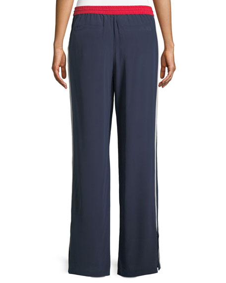 Perlyn Side-Stripe Silk Track Pants
