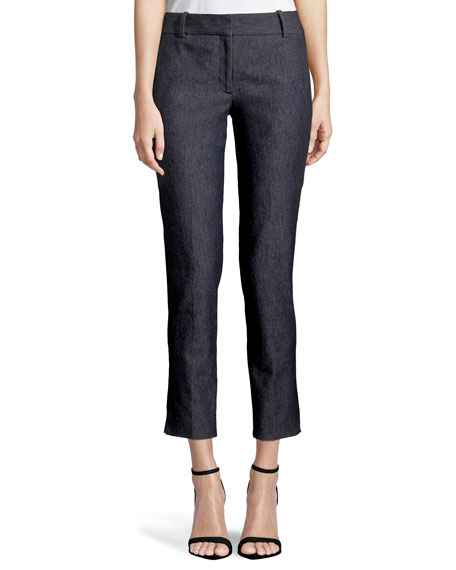 Classic Straight-Leg Cropped Denim Trousers