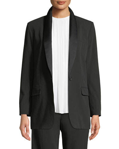 Quincy Wool-Crepe Blazer with Duchess Satin Trim