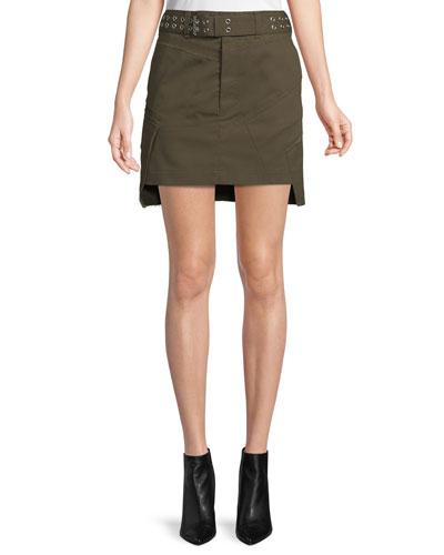 9688f092d8 Belted Military Patch Mini Skirt