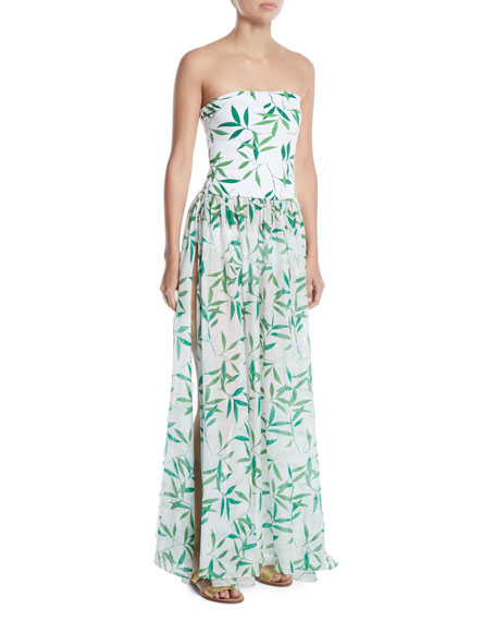 Caroline Constas Marianna Strapless Leaf-Print Coverup Maxi Dress