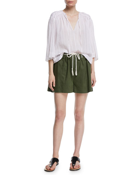 High-Rise Rope-Tie Linen Shorts