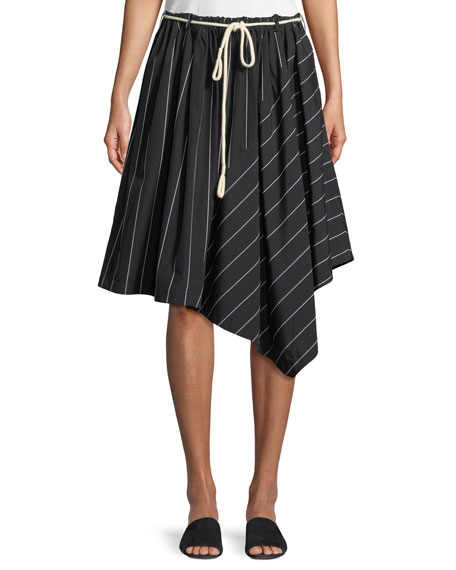 Striped Asymmetric Rope-Tie Skirt