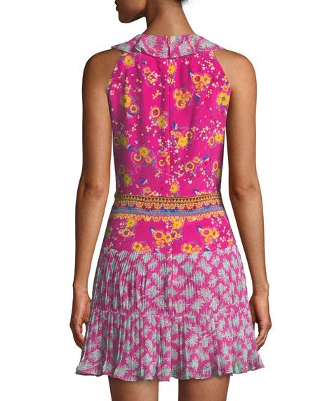 Amy Sleeveless Silk Short Dress, Multi