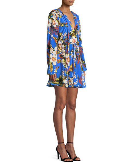 Floral Silk Cinch-Sleeve Mini Dress