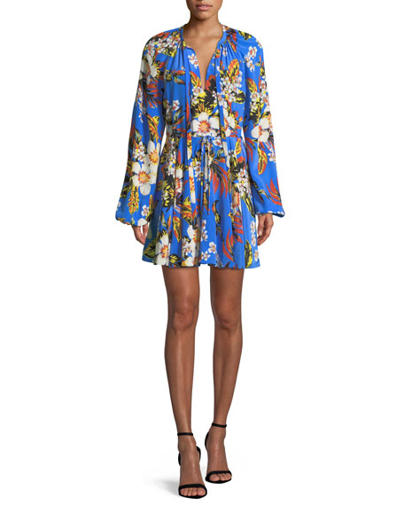 Diane von Furstenberg Floral Silk Cinch-Sleeve Mini Dress