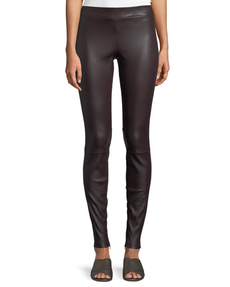 Ankle-Zip Lamb Leather Leggings