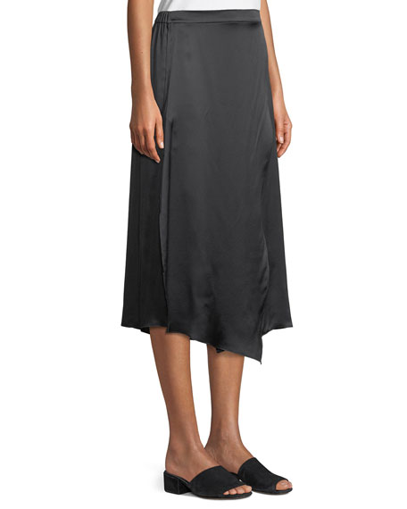 Draped Panel Silk Midi Skirt