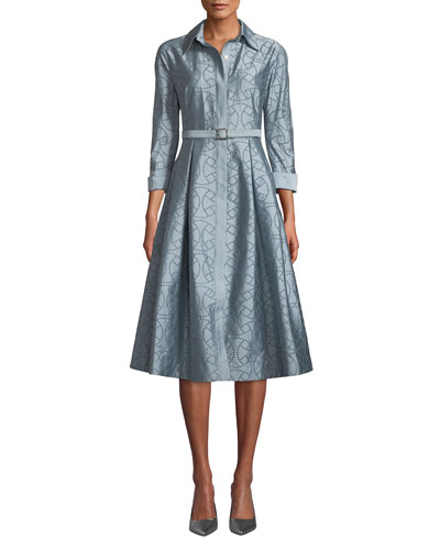 EYELET TAFFETA SHIRT DRESS