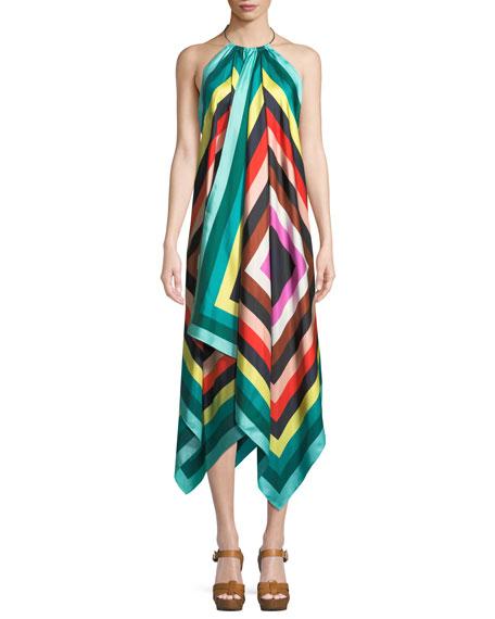 Diane von Furstenberg Gia Scarf-Hem Silk Midi Dress