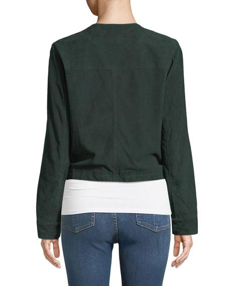 Suede Collarless Zip-Front Jacket