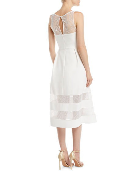 Crepe & Lace Tiered A-Line Dress