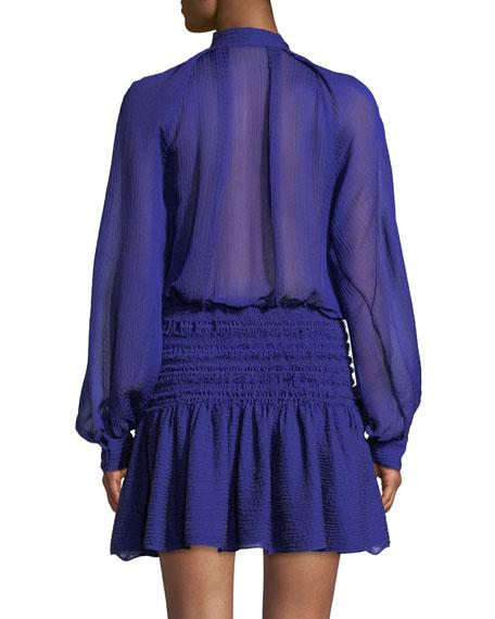 Garland Ruched Mini Dress in Peony Print