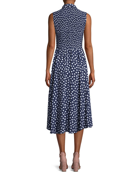 collared cloud dot midi dress