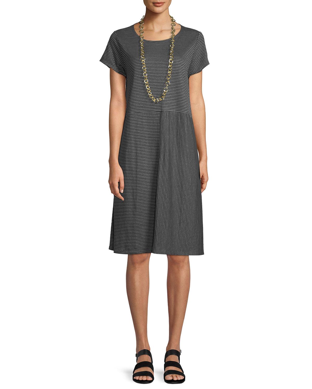 2f4bc7b174 Eileen FisherPlus Size Short-Sleeve Striped Organic Linen Jersey Dress